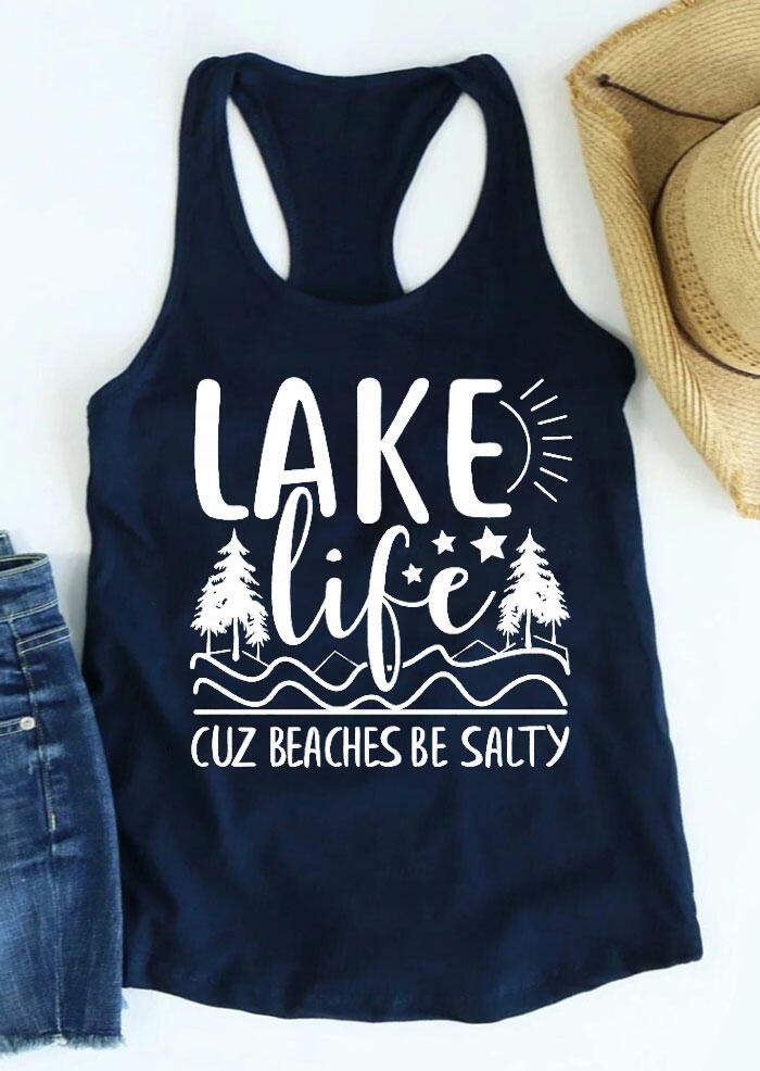 Lake Life Cuz Beaches Be Salty Tank - Deep Blue фото