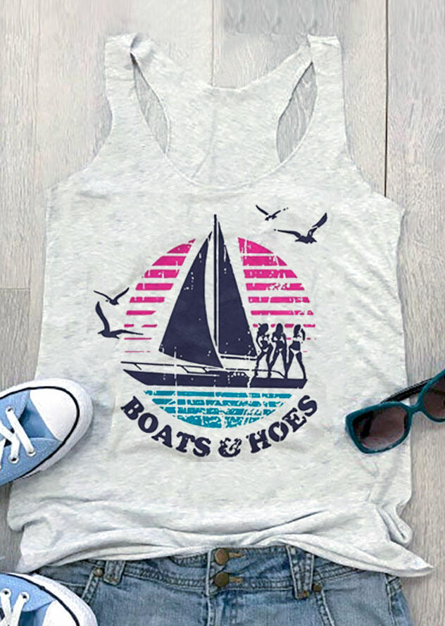 Boats And Hoes Tank - Light Grey фото