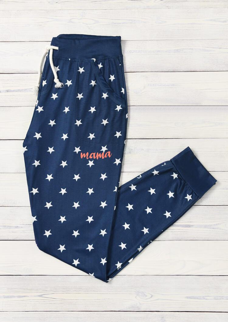 Mama Star Drawstring Pants - Blue
