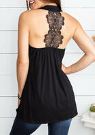 Lace Splicing Ruffled Halter Tank - Black