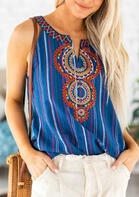 Floral Geometric V-Neck Tank - Blue