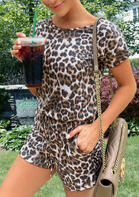 Leopard Pocket Drawstring Romper without Necklace