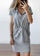 Hooded Drawstring Pocket Mini Dress