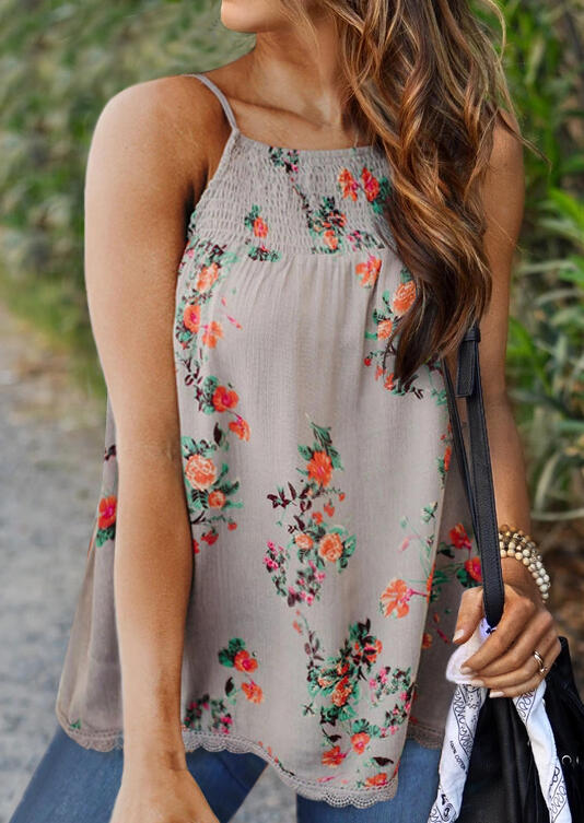 Tank Tops Floral Ruffled Lace Splicing Camisole in Gray. Size: S,M,L фото