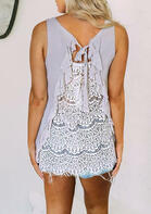Lace Splicing Ruffled Tie Tank