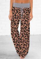 Leopard Drawstring Wide Leg Pants