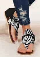 Women's Summer Zebra Striped Zipper Flat Sandals