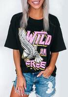 Wild And Free T-Shirt Tee - Black