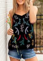 Floral V-Neck Camisole - Black