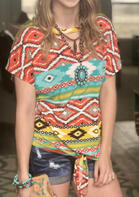 Aztec Geometric Hollow Out Tie Blouse without Necklace