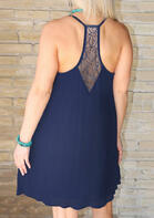 Lace Splicing Spaghetti Strap Mini Dress - Deep Blue