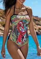 Aztec Tiger Criss-Cross Tie Halter One-Piece Swimsuit