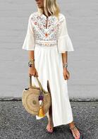 Floral Ruffled Slit Maxi Dress - White