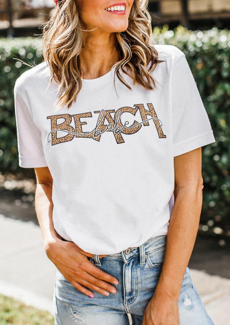 Tees T-shirts Leopard Beach Babe T-Shirt Tee in White. Size: S,M,L,XL фото