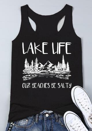 Lake Life Cuz Beaches Be Salty Tank - Black
