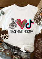Leopard Peace Love Tiktok T-Shirt Tee - White