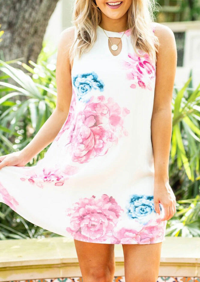 Floral Hollow Out Sleeveless Mini Dress without Necklace - White thumbnail
