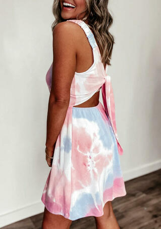 Tie Dye Hollow Out Ruffled Mini Dress without Necklace