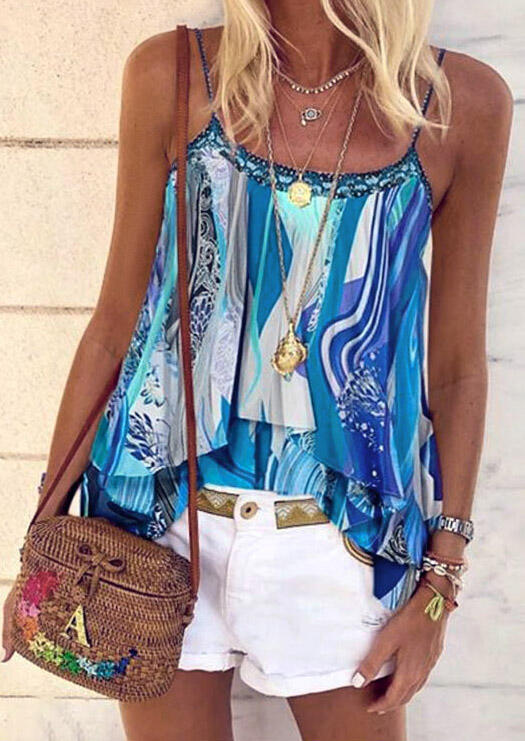 Tank Tops Floral Layered Camisole without Necklace in Blue. Size: XL фото