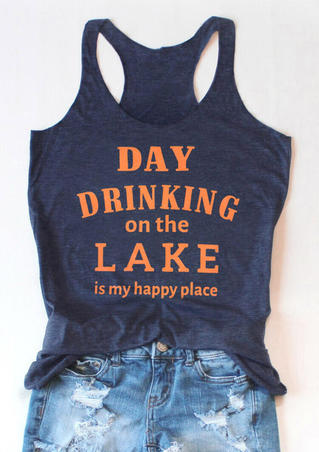 Day Drinking On The Lake Casual Tank - Navy Blue