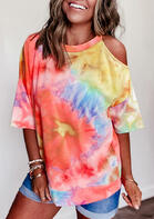 Tie Dye Hollow Out One Shoulder Blouse