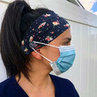 Floral Button Wrap Wide Headband