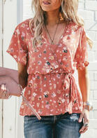 Floral V-Neck Drawstring Blouse