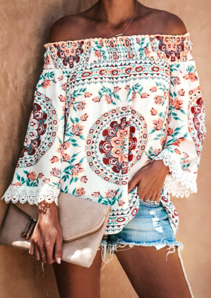 Blouses Lace Splicing Floral Off Shoulder Blouse in White. Size: S,M,L,XL фото