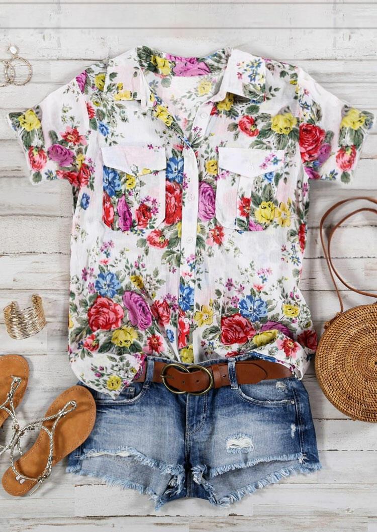 Floral Pocket Button Shirt - White фото
