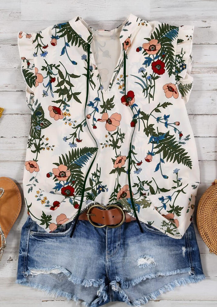 Summer Tops White Floral Ruffled V-Neck Tank Top for Women, Sleeveless Blouse Tops in White. Size: S,M,L,XL,2XL,3XL фото