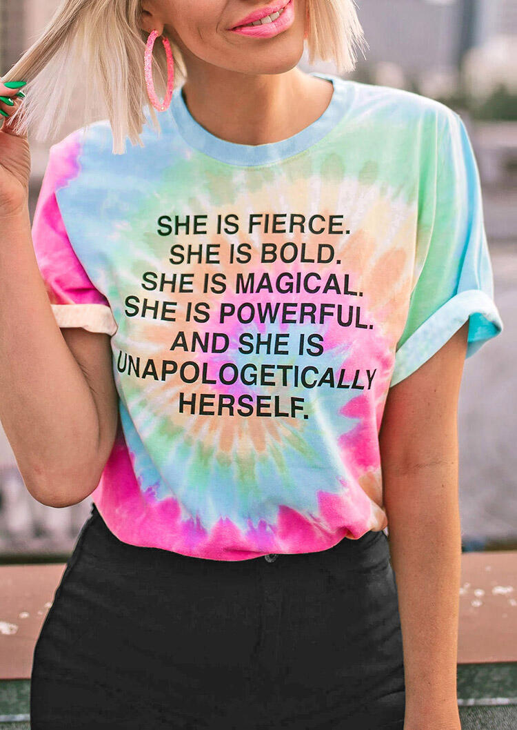 Tees T-shirts Tie Dye She Is Fierce T-Shirt Tee in Multicolor. Size: S,M фото