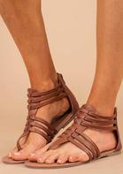 Summer Round Toe Zipper Flat  Sandals - Brown