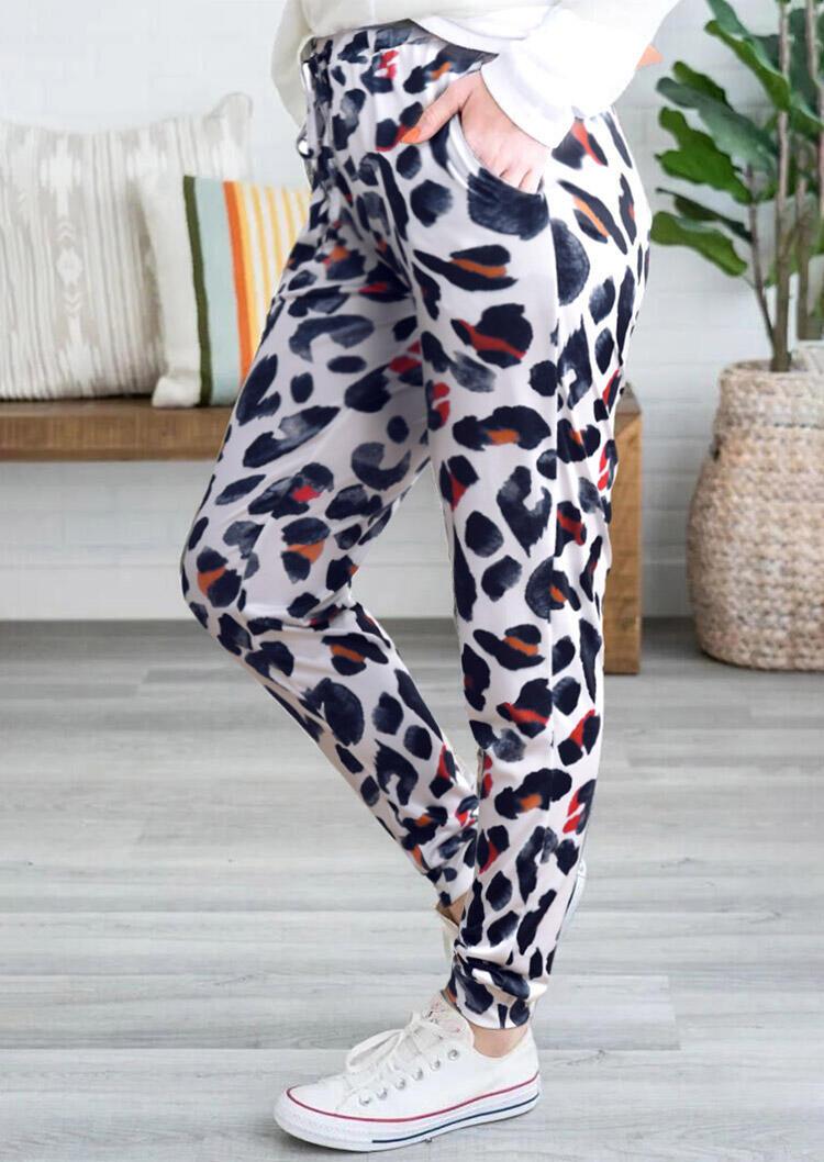 Leopard Pocket Drawstring Pants - White фото