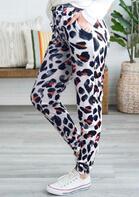 Leopard Pocket Drawstring Pants - White