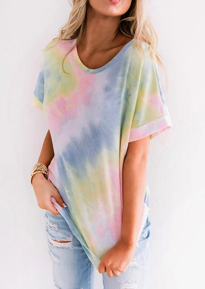 Tie Dye O-Neck T-Shirt Tee, Multicolor, 473211