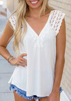 Lace Splicing Button V-Neck Blouse - White