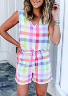 Colorful Plaid Drawstring Button Pocket Romper