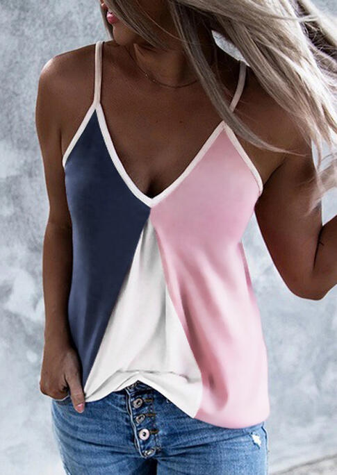 Color Block V-Neck Camisole - Pink фото