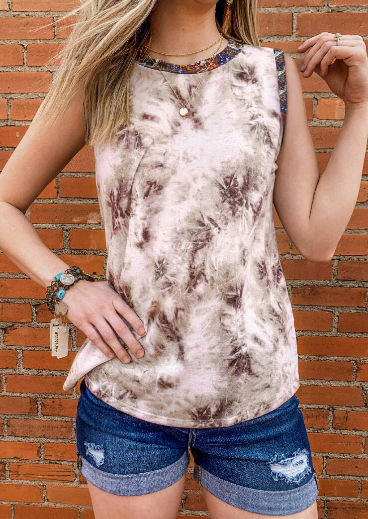 Tank Tops Ink Painting Splicing O-Neck Tank without Necklace in Brown. Size: S,M,L,XL фото