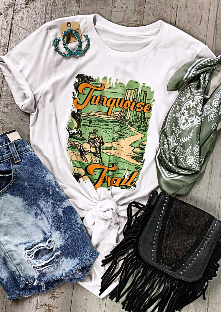Tees T-shirts Turquoise Trail T-Shirt Tee in White. Size: M,L фото