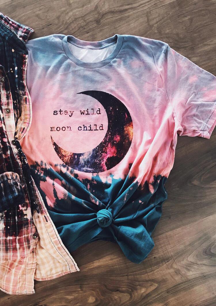 Presale - Stay Wild Moon Child Tie Dye T-Shirt Tee, Multicolor, 473365
