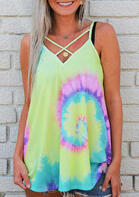 Tie Dye Criss-Cross Camisole without Necklace - Yellow