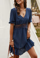 Lace Splicing Ruffled V-Neck Mini Dress without Necklace - Navy Blue