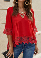 Lace Splicing Criss-Cross Ruffled Blouse