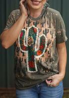 Floral Cactus O-Neck T-Shirt Tee
