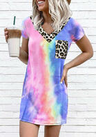Tie Dye Leopard Pocket Splicing Mini Dress