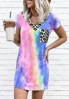 Tie Dye Leopard Pocket Splicing Mini Dress