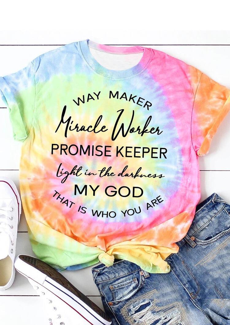 Tie Dye Way Maker Promise Keeper T-Shirt Tee, Multicolor, 473238