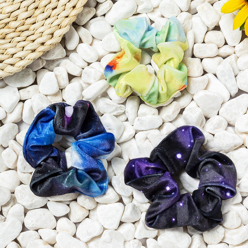 3Pcs Tie Dye Starry Sky Velvet Hair Scrunchies thumbnail