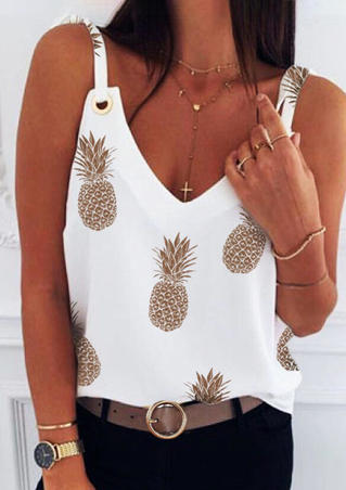 Pineapple Casual Camisole without Necklace - White